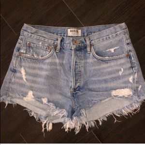 Agolde distressed denim shorts size 28